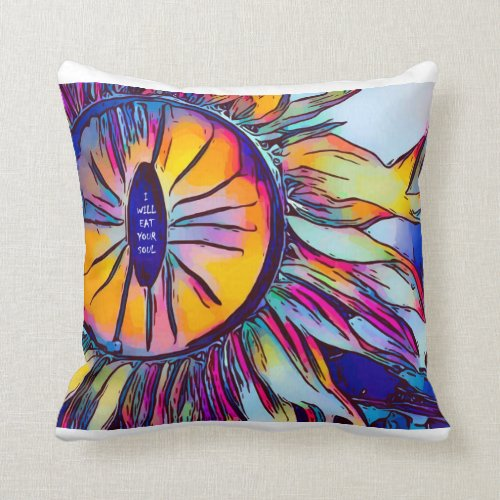 creepy sunflower will eat your soul throw pillow