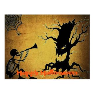 Creepy Tree, Cobweb, and Spooky Skeleton Halloween Postcard