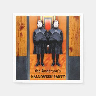 Creepy Twins Halloween Horror Personalized Party Napkin