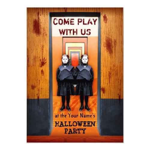 Creepy Twins Halloween Party Bloody Horror Invitation