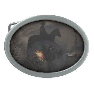 Creepy UFO Crash Oval Belt Buckles