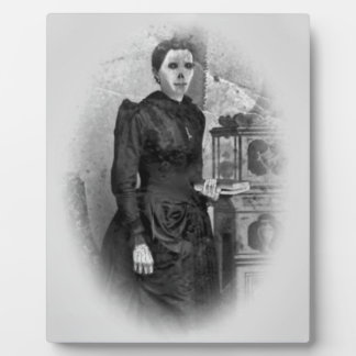 Creepy Undead Lady Ghost Halloween Portrait Plaque