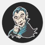 creepy vampire round stickers