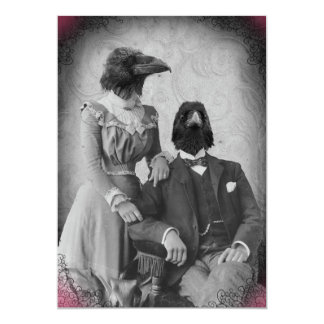 Creepy Victorian Raven Family Halloween Party Card
