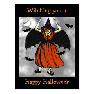 Creepy Vintage Halloween Bat Witch Postcard