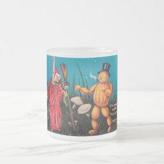 Creepy Vintage Halloween Frosted Glass Mug