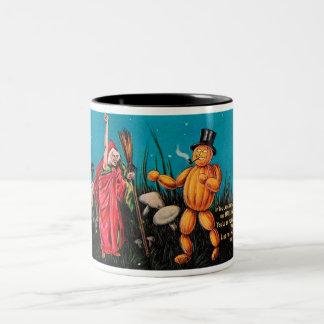 Creepy Vintage Halloween Two-Tone Mug