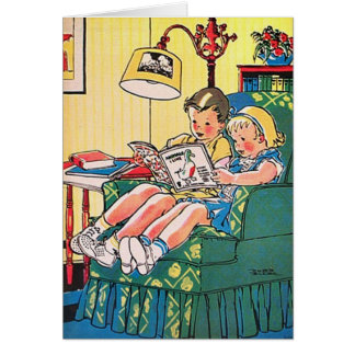 Creepy Vintage Kids Reading Book Card