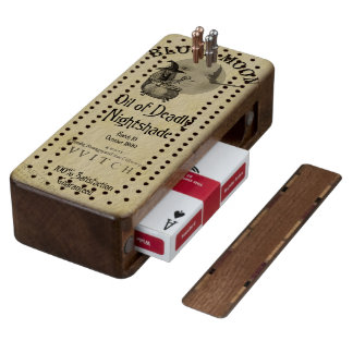 Creepy Vintage Label Walnut Cribbage Board