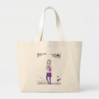 Creepy walk large tote bag