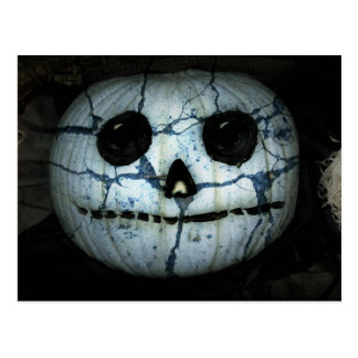 Creepy White Pumpkin Jack-o-Lantern Postcards