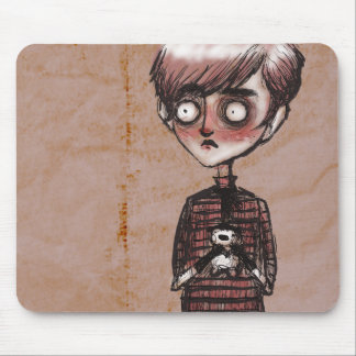 Creepy Wide Eyed Child Mouse Pad