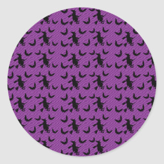 Creepy Witch Broom Halloween Party Favor Sticker