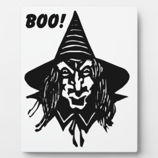 Creepy Witch Saying Boo Plaques