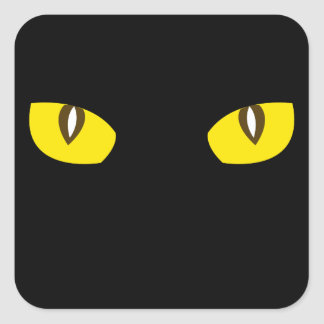 Creepy yellow cat eyes death stare Halloween favor Sticker