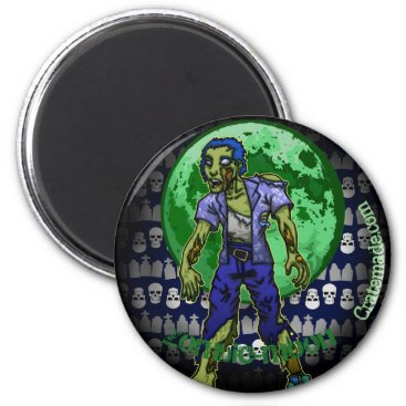 Halloween Themed Creepy Zombie Moon magnet