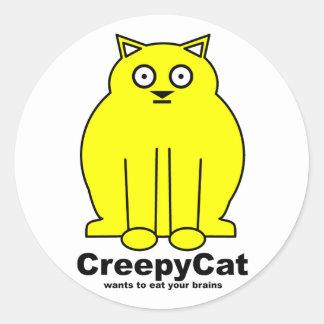 CreepyCat Round Sticker