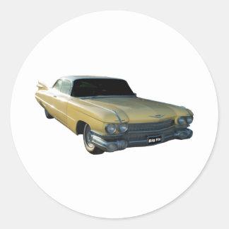 Crema 1959 de Cadillac Pegatina Redonda