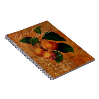Crema batida del albaricoque libro de apuntes con espiral