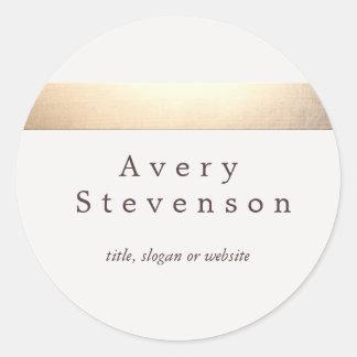 Crema blanca moderna rayada coloreada oro pegatina redonda