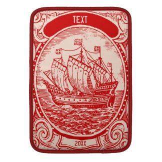 Crema clásica del rojo del buque del mar del vinta funda macbook air