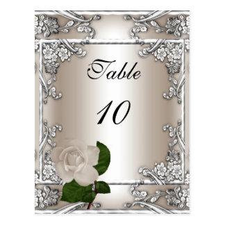 Crema de la plata del boda de la tarjeta del númer postal