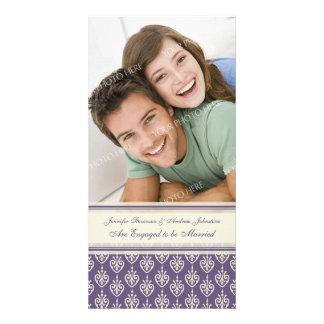 Crema de la púrpura de la tarjeta de la foto de la tarjeta fotografica