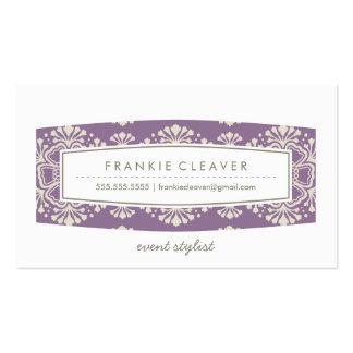 Crema de la púrpura del estampado de flores del tarjetas de visita