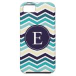 Crema de los azules marinos del monograma de Chevr iPhone 5 Coberturas