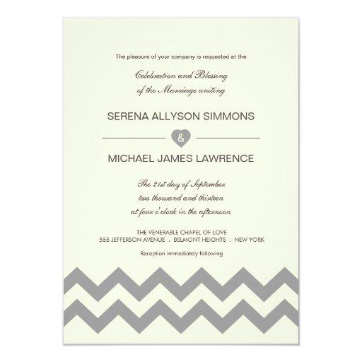 """Crema de marfil e invitaciones grises del boda de invitación 4.5"""" x 6.25"""""""