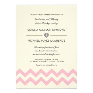 Crema de marfil e invitaciones rosadas del boda de invitaciones personalizada
