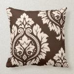 Crema decorativa del arte I del damasco en Brown Cojín