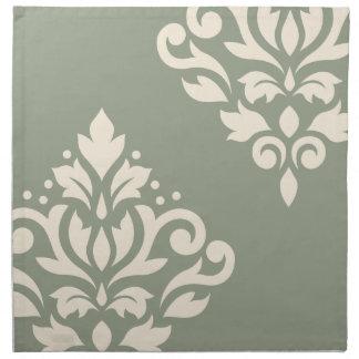 Crema del arte I del damasco de la voluta en verde Servilletas