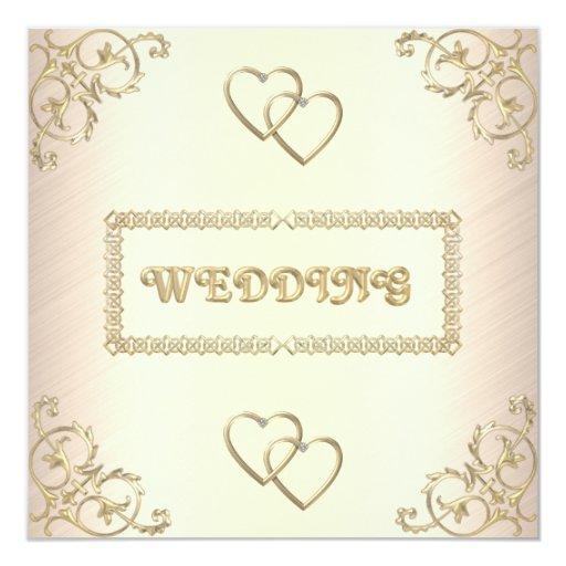 Crema del boda de la invitación con los accesorios