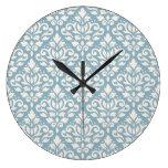 Crema del modelo del damasco de la voluta en azul relojes