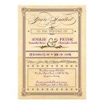 Crema del poster del vintage y boda y RSVP de Brow Invitación