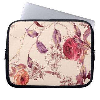 Crema del vintage elegante y caso florales del ros mangas portátiles