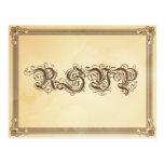 Crema del vintage y poster RSVP de Brown con la op Tarjetas Postales