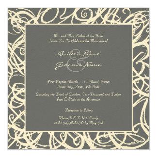 Crema e invitación incompleta gris del boda del