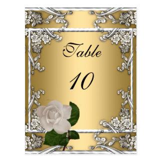 Crema elegante del oro del boda de la tarjeta del postal