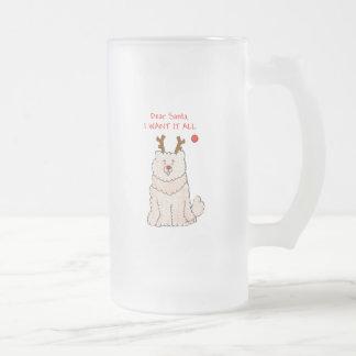 Crema estimado Santa del perro chino de perro chin Tazas De Café