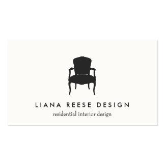 Crema francesa simple del logotipo de la silla del tarjetas de visita