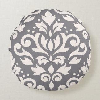 Crema grande del diseño del damasco de la voluta cojín redondo