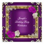 Crema púrpura del ciruelo del oro de la fiesta de invitacion personalizada