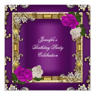 """Crema púrpura del ciruelo del oro de la fiesta de invitación 5.25"""" x 5.25"""""""