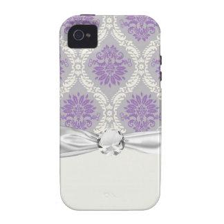 crema púrpura y damasco gris del royale iPhone 4 funda