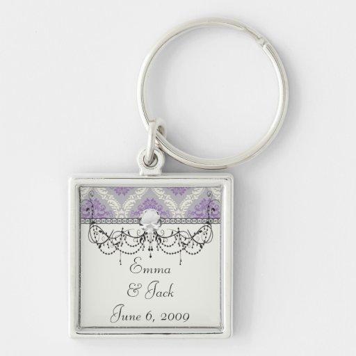 crema púrpura y damasco gris del royale llavero cuadrado plateado