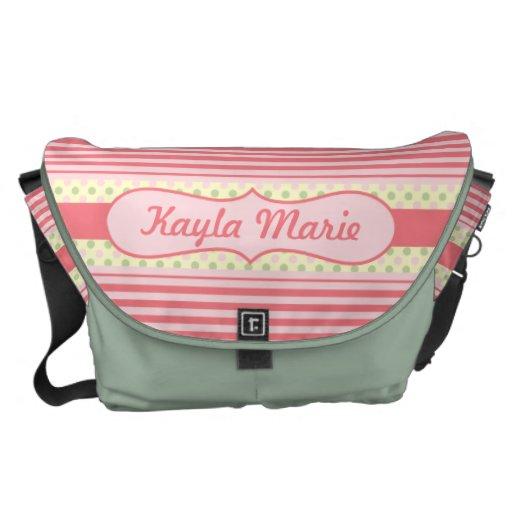 Crema rosada de la verde menta de las rayas dulces bolsa de mensajería