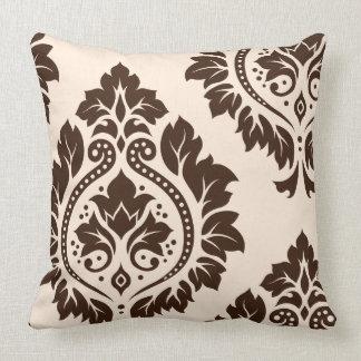 Crema y Brown decorativos del arte I del damasco Cojín