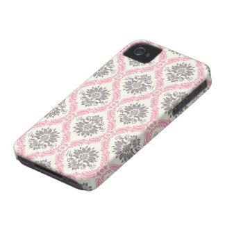 crema y dicha gris del damasco del moreno Case-Mate iPhone 4 carcasa